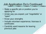 job application do s continued