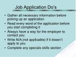 job application do s