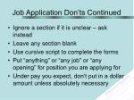 job application don ts continued