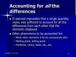 accounting for all the differences