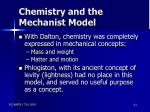 chemistry and the mechanist model