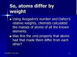 so atoms differ by weight