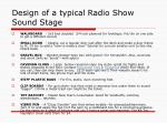 design of a typical radio show sound stage14