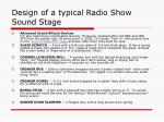 design of a typical radio show sound stage16