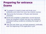 preparing for entrance exams
