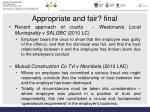 appropriate and fair final