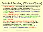 selected funding watson tyson