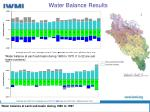 water balance results
