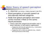motor theory of speech perception