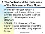 3 the content and the usefulness of the statement of cash flows