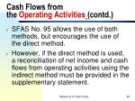 cash flows from the operating activities contd