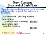 green company statement of cash flows