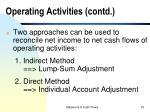 operating activities contd