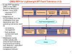 omg rfp for lightweight rt fault tolerance 1 2