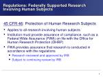 regulations federally supported research involving human subjects