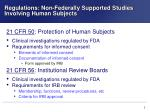 regulations non federally supported studies involving human subjects