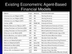 existing econometric agent based financial models