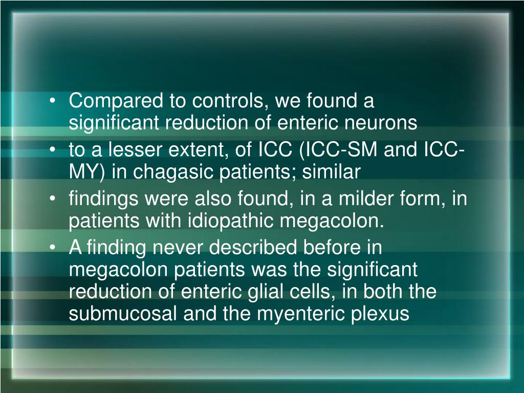 Compared to controls, we found a significant reduction of enteric neurons