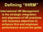 defining ihrm