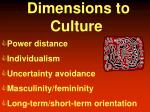 dimensions to culture