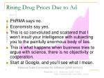 rising drug prices due to ad