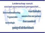 leiderschap vanuit sociaal economisch perspectief