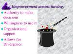 empowerment means having