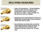 2012 kyms deadlines
