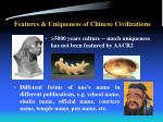 features uniqueness of chinese civilizations