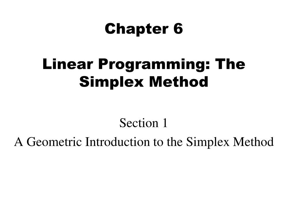 chapter 6 linear programming the simplex method l.