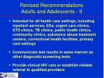 revised recommendations adults and adolescents ii