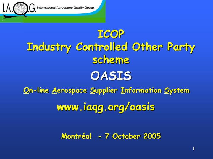 icop industry controlled other party scheme oasis montr al 7 october 2005 n.