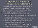 imagine the killer app for the one tbyte lifetime pc