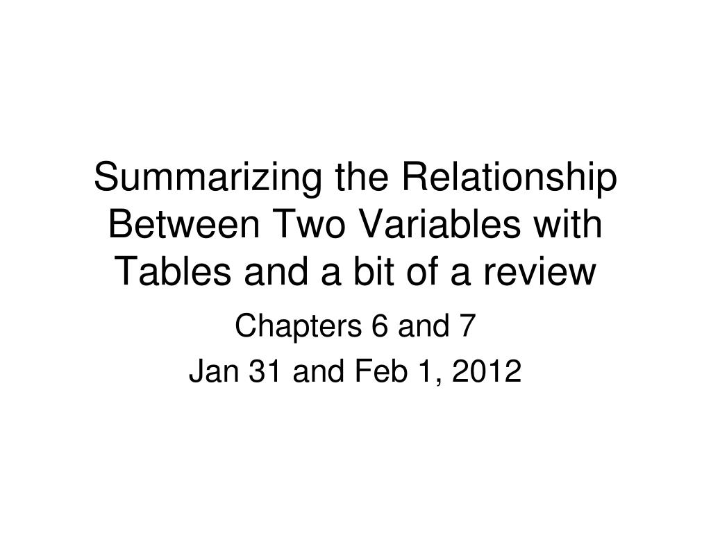 summarizing the relationship between two variables with tables and a bit of a review l.