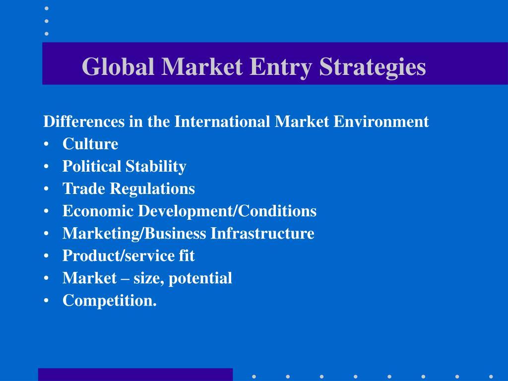 global market entry strategies l.