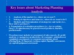 key issues about marketing planning analysis