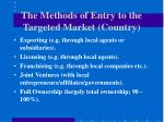 the methods of entry to the targeted market country