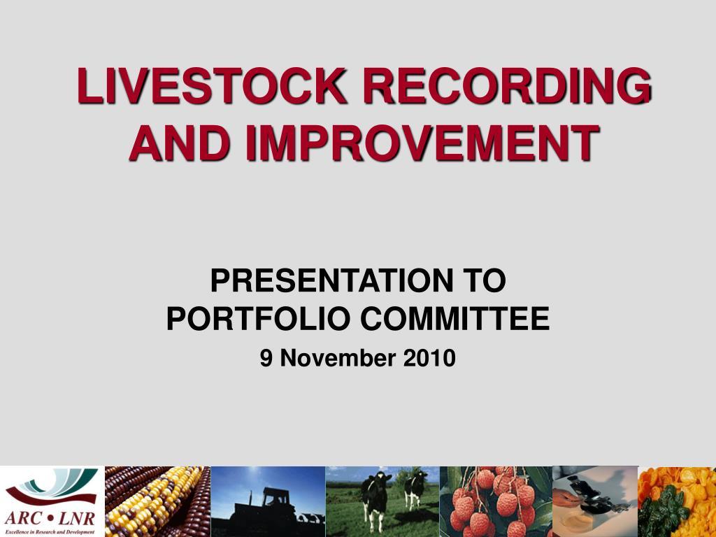 livestock recording and improvement l.