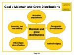 goal maintain and grow distributions