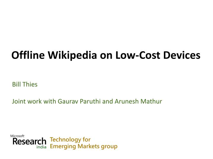 offline wikipedia on low cost devices n.