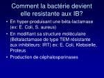 comment la bact rie devient elle resistante aux ib