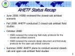 ahetf status recap