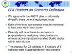 epa position on scenario definition