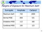 margins of exposure for maximum aaih