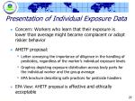 presentation of individual exposure data