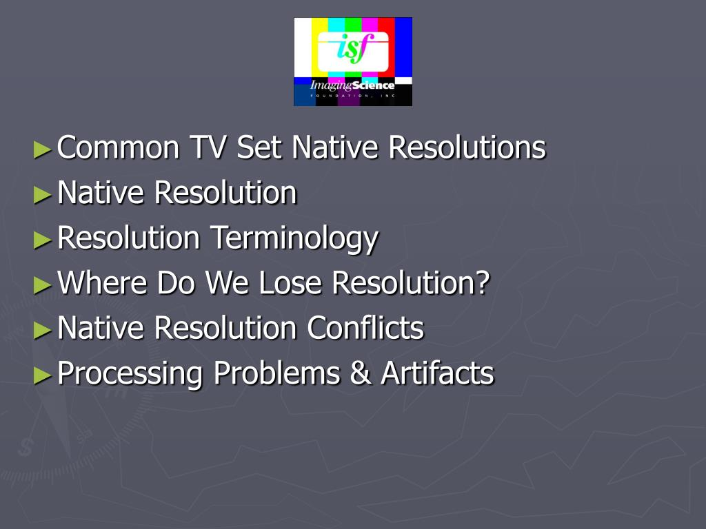 Common TV Set Native Resolutions