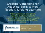 creating conditions for adapting skills to new needs lifelong learning