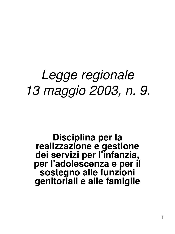 legge regionale 13 maggio 2003 n 9 l.