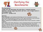clarifying the benchmarks