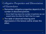 colligative properties and dissociation of electrolytes34